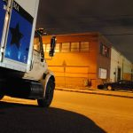 our truck in the Fresh Pond Industrial Park, late at night