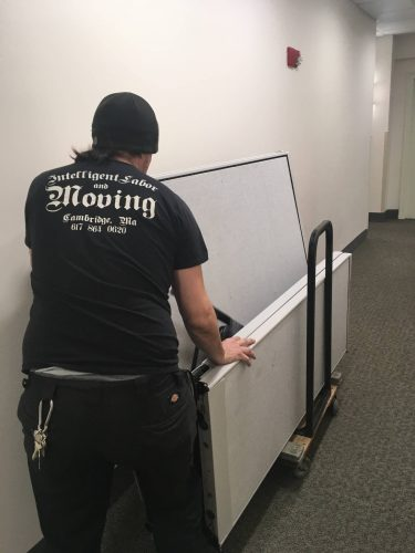 paul using murphy bars on a dolly on an office move in Boston